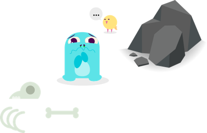 The Blulu characters mourning some creatures death as shown by bones lying on the ground.