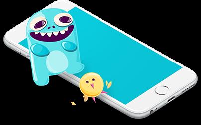 Blublu mascot and the yellow bird sidekick with a smartphone mock up.