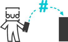The Budka mascot shows the first step in using Budka 2.0, using the right hashtags to communicate with the device.