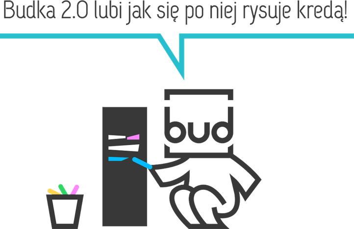 A large illustration of the Mascot writing on the Budka 2.0 with colorful chalk.