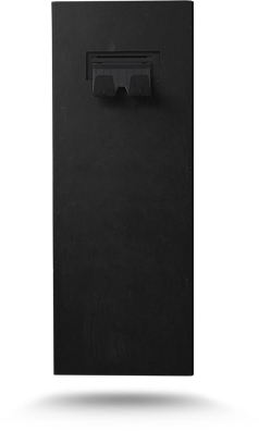 Picture of the produced fotobudka, its surface is a blackboard, therefore there are words written in chalk on its surface.